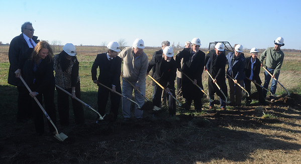 Globe/Roger Nomer<br /> Officials break ground at the new Communities of Wildwood Ranch living center on Monday afternoon.