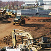 Globe/Roger Nomer<br /> Excavation work continues at the site of the old St. John's Hospital on Friday morning.