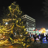 Globe/T. Rob Brown<br /> Joplin residents and children celebrate the lighting of the Christmas tree Friday night, Nov. 30, 2012, in Spiva Park.