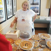 Globe/Roger Nomer<br /> Kay McLaughlin, Joplin, was busy at the Hazel's Bakery booth selling pies for Thanksgiving during the Holiday Market in Webb City on Wednesday morning.