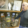 Globe/Roger Nomer<br /> Louis Nicoletti talks about items from his collection of JFK memorabilia on display at the Franklin Miner's Museum.