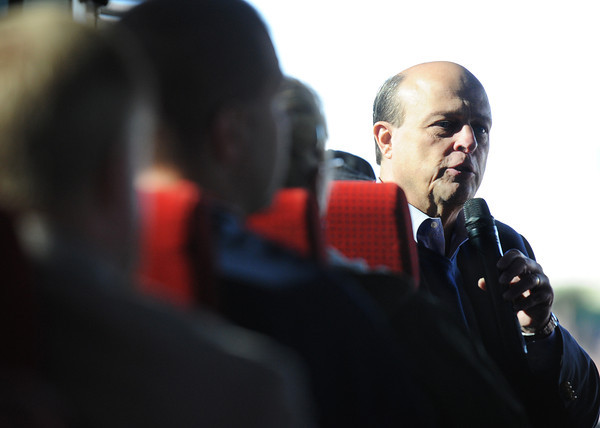 Rob O'Brian, president of the Joplin Area Chamber of Commerce, speaks to a bus-load during Wednesday morning's Economic Growth Tour, Nov. 13, 2013, in Joplin.<br /> Globe   T. Rob Brown