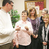 Globe/Roger Nomer<br /> (from left) Gary Stubblefield, director of Carl Junction Cares, presents a check to Sharon Clark, president of Hope 4 You, Nancy Simon, board member, Kim Sanders, board member, Kelly York, secretary, and Dan Stengal, treasurer on Thursday morning.  The check for $3,000 was a portion of money raised during fundraising events in October for Breast Cancer Awareness Month.