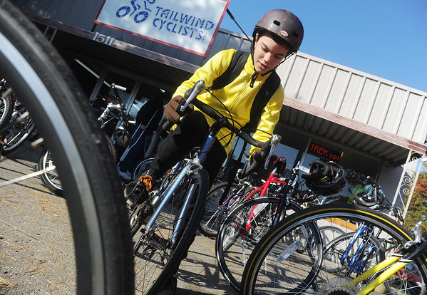 Globe/Roger Nomer<br /> Josh Watson, 13, prepares to leave on his 50-mile bike ride with his Boy Scout Troop 81 on Saturday morning.