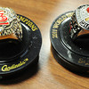 Replica 2006 (left) and 2011 World Series Champions rings from the memorabilia collection of Shane Munn, Ignite Church campus pastor and St. Louis Cardinals baseball fan.<br /> Globe | T. Rob Brown