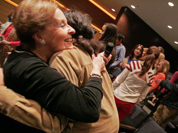 Globe/Roger Nomer<br /> Marion Blumenthal Lazan gets a hug from Gaia Thayer, a sixth grader at Thomas Jefferson, following her talk at the school on Tuesday.