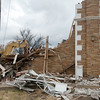 Globe/Roger Nomer<br /> Demolition continues at Emerson Elementary on Monday morning.