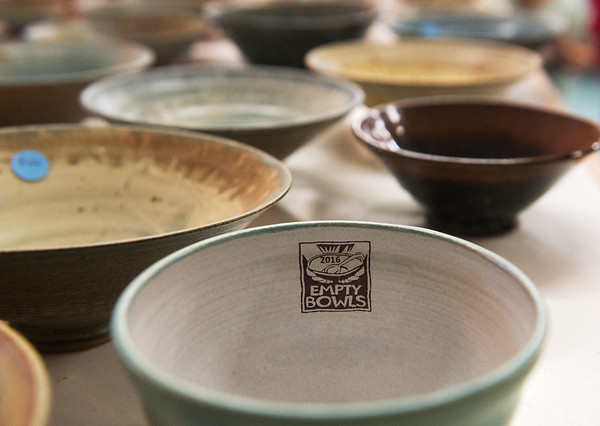 Globe/Roger Nomer<br /> Empty bowls were available as a fundraiser on Thursday at Phoenix Fired Art.