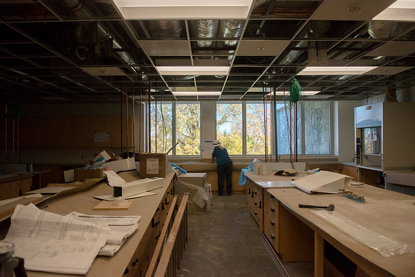 Globe/Roger Nomer<br /> Construction continues on the renovated labs at Reynolds Hall on Tuesday.