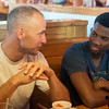 Globe/Roger Nomer<br /> Charles Arnce, Wyandotte, talks with Owen Richardson, Joplin High senior, on Friday at Texas Roadhouse.