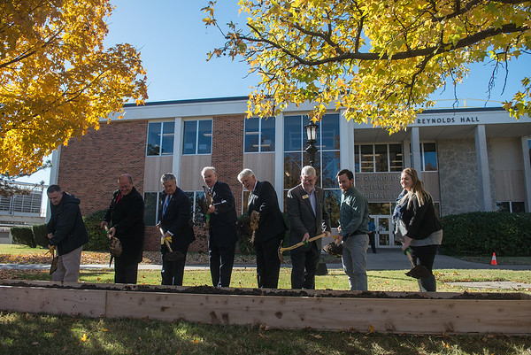 Globe/Roger Nomer<br /> Officials break ground on Tuesday during the groundbreaking for Nixon Hall at Missouri Southern.