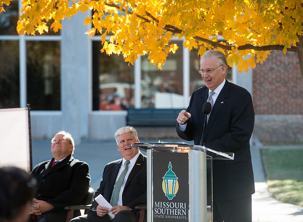 Globe/Roger Nomer<br /> Gov. Jay Nixon talks on Tuesday during the groundbreaking for Nixon Hall at Missouri Southern.