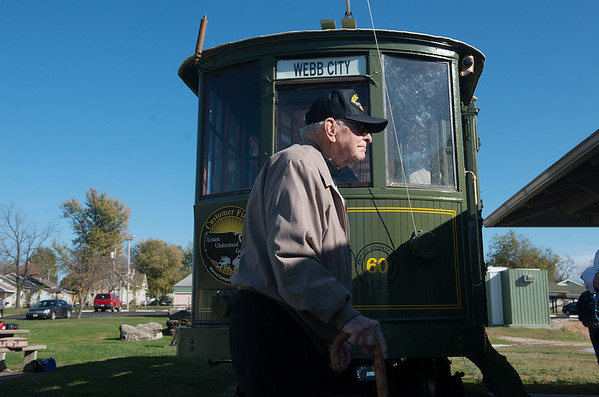 Globe/Roger Nomer<br /> Bruce Benson, Webb City, crosses the trolley tracks for a ride on Friday at King Jack Park.