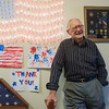 Globe/Roger Nomer<br /> Vance Meares talks about his love of flags and service during kWWII during an interview on Wednesday.