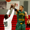 Missouri Southern's JJ Cratit (1) dishes off to a teammate as Missouri S&T's xxx (20) defends during their game on Friday at Drury.<br /> Globe | Laurie Sisk