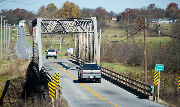 Traffic makes its way across the Center Creek Bridge on Hwy D near Oronogo on Thursday morning.<br /> Globe | Laurie Sisk