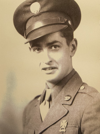 A young Keith Fiscus is pictured in this portrait taken at basic training during World War II. Fiscus will be serving as Grand Marshall for the Veterans Day Parade in downtown Joplin today.<br /> Globe | Laurie Sisk