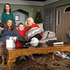 "The cast of the upcoming Stone's Throw Dinner Theatre production of John Trent's ""One Christmas Night"" pause for a group photo during rehearsal Tuesday night at the theater. From the left: Drew Girouard (Robert,) Linda Bailey (Martha,) Tabitha Taylor (Natalie,) Caleb Martin (Kyle,) Elizabeth Turner (Jessie) and Judy Boyd (Sarah.)<br /> Globe 