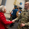 Globe/Roger Nomer<br /> Lee Eberhardt, Joplin, chokes up as she thanks Army Specialist Chris Noble, Jefferson City, for his service following Thursday's veterans recognition ceremony at College Heights.