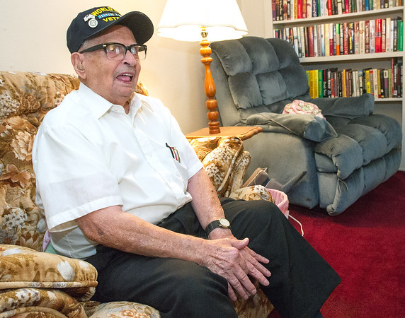 World War II veteran Keith Fiscus on Friday talks about implementing direct orders from Gen. George Patton to capture a German prisoner. Fiscus will be serving as Grand Marshall for the Veterans Day Parade in downtown Joplin today.<br /> Globe | Laurie Sisk