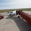 Globe/Roger Nomer<br /> An American Eagle flight lands at the Joplin Regional Airport on Thursday.