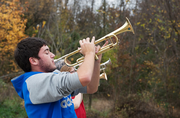 Globe/Roger Nomer<br /> Jonathon Beck, Riverton senior, practices with the Riverton High marching band on Friday at the high school.