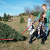 Globe/Roger Nomer<br /> Siblings Payten, 6, Jace, 10, and Annie, 7, Cartright, Webb City, help pull the family's Christmas tree on Friday at Bridgestone Christmas Tree Farm. The family makes it a tradition to pick out a Christmas tree on the first day after Thanksgiving.