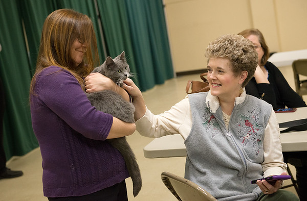 Globe/Roger Nomer<br /> Carrie Puffinbarger, left, Joplin, and Nancy Messick, a member of the Joplin History Museum governing board, pet museum cat Crystal during Wednesday's memorial service for Percy at the Joplin History Museum.