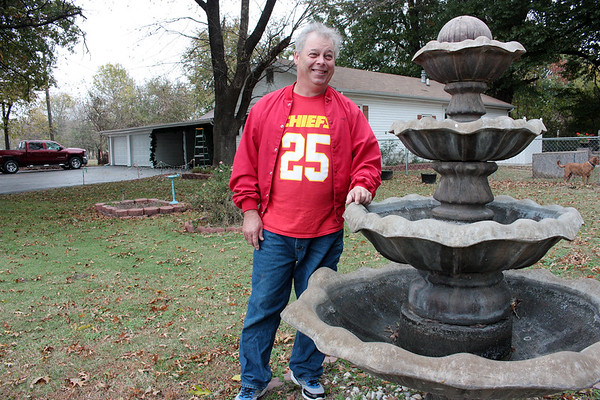The fountain is used as Christmas lights fixture at the Curtis home.