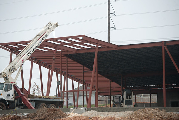 Globe/Roger Nomer<br /> Construction continues on the Joplin Senior Center on Tuesday.