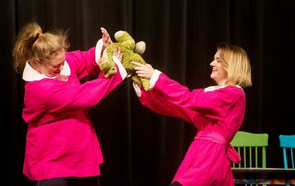 "Globe/Roger Nomer<br /> Katie Roush, Joplin High junior, left, as Birdy, and Lydia Sokolenko, junior, as Twinkle, perform a scene during a rehearsal of ""Crazy Cocoa Christmas"" at Joplin High School on Thursday."