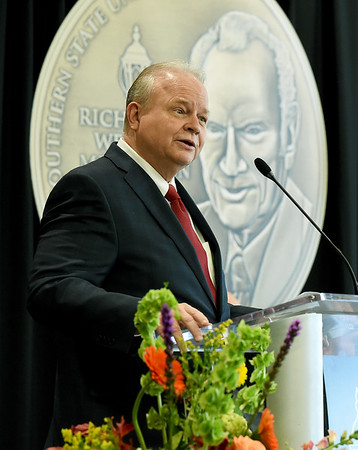 Former State Senator Gary Nodler addresses the crowd after being awarded the 2018 Webster Medallion on Wednesday afternoon at Missouri Southern. Nodler, a 1972 graduate of Missouri Southern, is the second recipient of the award.<br /> Globe | Laurie Sisk