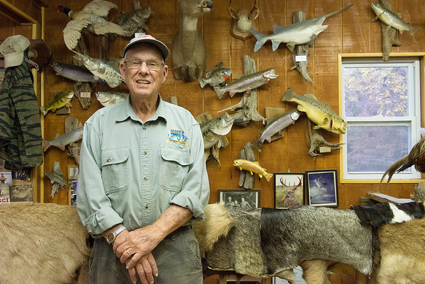 Don Scott talks about his taxidermy work at his shop in Joplin on Oct. 31.<br /> Globe | Roger Nomer