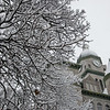 Snow falls in Carthage on Monday.<br /> Globe | Roger Nomer