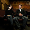 From the left: Holly and Brad Crane, owners of Bookhouse Cinema, sit inside the theatre they opened earlier this year.<br /> Globe | Laurie Sisk