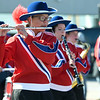 Members of the East Newton High School Marching Band entertain the crowd during the 31st Annual Veteran's Day Parade on Saturday morning in downtown Joplin.<br /> Globe | Laurie Sisk