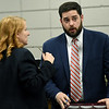 From the left: Prosecutors xx and xx confer during the opening day of testimony in the 2016 murder of Tonya Crawford.<br /> Globe | Laurie Sisk