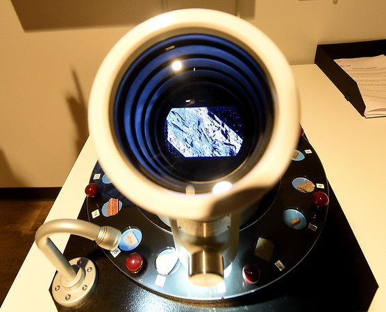A Wentzscope gives a view of some of the varied materials used in Shawnee Tribe pottery. The new Shawnee Tribe Cultural Center is scheduled to open today in Miami.<br /> Globe | Laurie SIsk