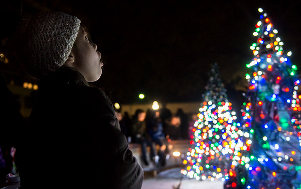Gwynevere Stohs, 3, Joplin, watches the light display at Spiva Park on Tuesday evening.<br /> Globe | Roger Nomer