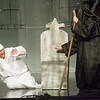 "Karl Wendt, as Scrooge, and Teresa Welch, as the Ghost of Christmas Yet to Be, rehearse a scene from ""A Christmas Carol"" on Monday at Ozark Christian College.<br /> Globe 