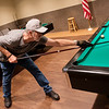 Clinton Clouse lines up a shot on Monday at the Joplin Senior Center.<br /> Globe | Roger Nomer