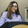 "Pittsburg State international student Dilara Maihemuti, of Northwest China, talks about fulfilling her ""American Dream"" during her speech at PSU's end of semester banquet for international students on Thursday night at PSU.<br /> Globe 