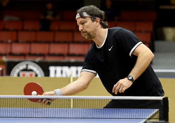 Tom Jordan, of Vinita, competes in the Under 1900 Division during the Joplin Table Tennis Club's 2018 Fall Open Table Tennis Championship on Saturday at Memorial Hall. About 45 players from six states competed, including players from as far as Lexington, Ky.<br /> Globe | Laurie SIsk