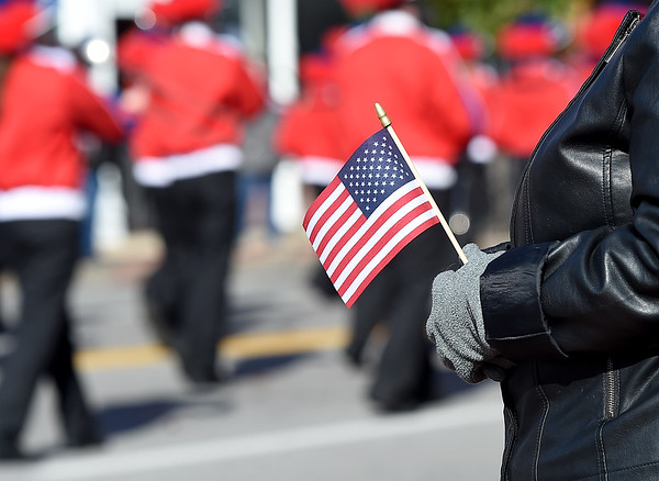 A spectator holds a U.S. flag as a band marches by during the 31st Annual Veteran's Day Parade on Saturday morning in downtown Joplin.<br /> Globe   Laurie Sisk