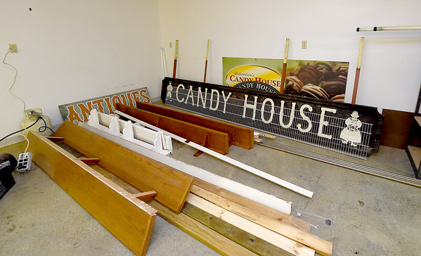 Historic relics sit inside a room at the old Richardson's Candy House on Tuesday. Stacia Elliott plans to open a medical spa and other businesses inside the historic building, while keeping some artifacts from the candy house.<br /> Globe | Laurie Sisk