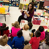 Emeli Jimenez reads to her kindergarten class on Monday at Fairview Elementary in Carthage.<br /> Globe | Roger Nomer