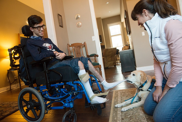 Service dog Mona demonstrates how she helps Alex Mikolasko with his socks as his mother Shelly watches on Monday at their Joplin home.<br /> Globe   Roger Nomer