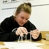 Crowder College - Cassville sophomore Haleigh Stephenson constructs a paper sculpture during Art 101 class on Tuesday morning at the school.<br /> Globe | Laurie Sisk
