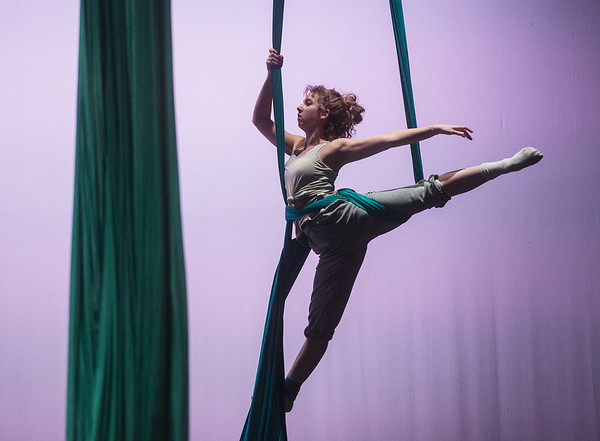 Saydi Ogdon rehearse an aerial dance from Beauty and the Beast on Wednesday at Pittsburg's Memorial Hall.<br /> Globe   Roger Nomer