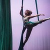 Saydi Ogdon rehearse an aerial dance from Beauty and the Beast on Wednesday at Pittsburg's Memorial Hall.<br /> Globe | Roger Nomer